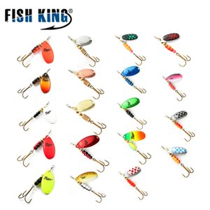 Fish King 3 unids Spinner Bait Mepps Metal señuelo de la pesca Bass Hard Bait Cuchara Con Cobre Treble Hook Hard Lures Tackle de pesca