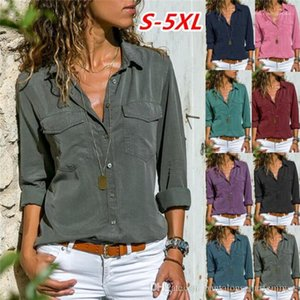 New Long Sleeved Shirt Fashion Solid Color Lapel Neck Spring Designer Womens