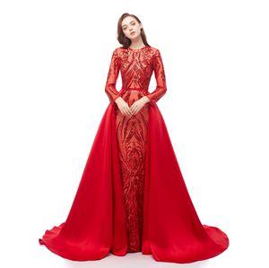 Luxo Dubai mangas compridas vermelhas lantejoulas vestidos de baile 2021 sereid destacável trem vestidos de festa de noite personalizado feita plus size sexy vestido de baile