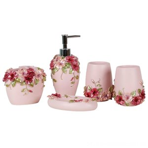 Country Style Resin 5Pcs Accessories Fixtures Building Supplies Set Soap DispenserToothbrush HolderTumblerSoap Dish Pink Country Style Resin
