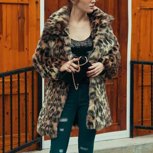 Piel de solapa cuello abrigos de diseño Ropa de invierno diseñador de las mujeres abrigos Moda suelta Leopard Impreso Faux