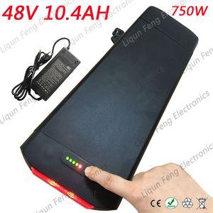 Batteria esente da imposte USA US 18650 celle 750W 48V 10AH E-Bike Rack posteriore Batteria 48V 10Ah batteria al litio con caricabatterie BMS 2A.
