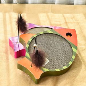 Смешные рыбы образного Граттаж Pad теребит Cat Игрушки Сообщение Kitten Cat Grass Pet Гофрированной безопасность карта игрушки Toy
