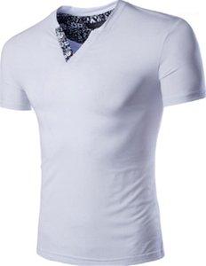 Roupas de verão Moda respirável Adolescente Masculino Tops Designer magro dos homens T Shirt Casual Sólidos Triângulo Invertido