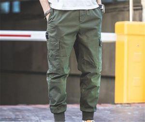 Mens Cargo Pants régulier multi poche travail Pantalon taille élastique Pantalon Homme Vêtements Mode Casual Plein capris