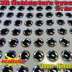 Esche 2017NEW 3D occhi esca mosca scegliere Formato: 3mm - quantità 16MM: 500pcs / lot realistico colore occhi artificiali: nastro
