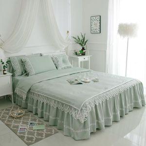 Рябь кружева Duver cover Bedskirt белый розовый 100%хлопок комплект постельных принадлежностей J/7 PC King Queen Twin size простыня набор наволочек Шамс