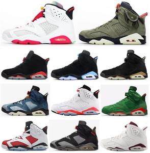 2020 Shoes New 6 Hare Preto Infrared Travis Scotts DMP UNC Basketball Homens 6s Denim Gatorade JSP Carmine Oreo Maroon Sneakers com caixa