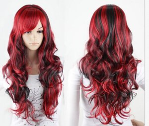 select Style and colour Wholesale Hot Sell Synthetic >shun new Curly H1496 Fastshipping Fashion New Womens Long Wavy Cosplay Wig