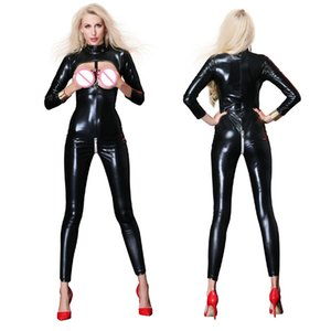 Sexy Faux Leather Black Bodysuit Women Zipper con apertura sul cavallo Hollow Busto Lingerie erotica tuta Wetlook Clubwear Costume