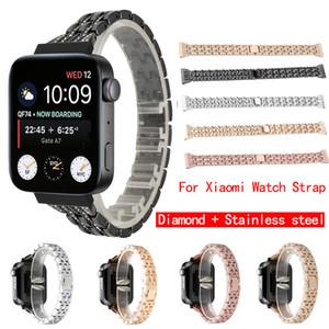 Aço inoxidável Diamante de luxo banda de metal Para Xiaomi Smartwatch Com Adaptador de conector de substituição Strap pulseira Para Mi Assista