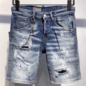 Tasarımcı Kısa Jeans Erkek Moda Gevşek Marka Jeans Casual Kısa Erkek Sıkıntılı Biker Jeans Motosiklet Lüks Kot Şort 2020739K Ripped
