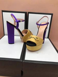 talons chunky femmes robe de mode dames de couleur patch sandales mariage sandales de conception fête de bal des talons boucles Princetown sandales femmes