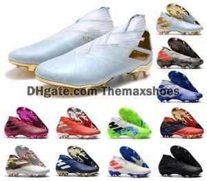 2020 Горячие мужские Messi Nemeziz 19+ Laceless FG 10 лет золотой туз 19 + х скольжения на обувь футбол высокого Ботильоны Бутсы Размер US6.5-11