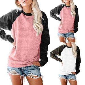 Women Camouflage Stitching Hoodies Crew Neck Long Sleeve Sweatshirt Famale Loose Spring Autumn Top
