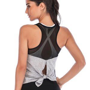 LEOQ Backless Sport Yoga Kult Shirts Sowohl Abnutzungs-Trainings-Tops Fitness Gym T-Shirt Beruf Tanks Top Ärmel Athletisch Weste