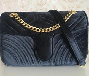 Manera de la venta Cartera bolso de las mujeres bolsos de los bolsos de las mujeres de cadena 26cm de oro de la correa de hombro bolsa de terciopelo Crossbody Totes bolsa de diseñador mensajero