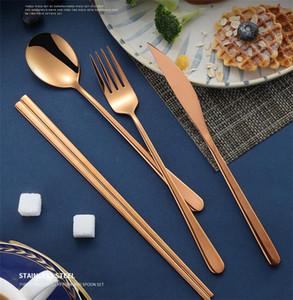 4шт / корейские наборы столовых приборов красочных палочки ножа вилка ложка ПОСУДА набор для свадебных домашних вечеринок кухонных принадлежностей