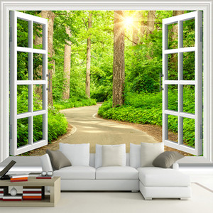 Personalizado 3D Photo Wallpaper verde da luz do sol Forest Road Janela Natureza Paisagem Mural Sala Sofa TV papel de parede