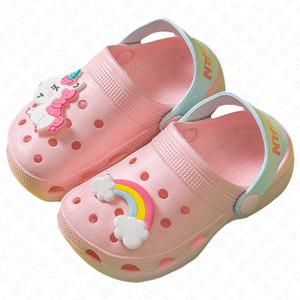 New Boys Girls Summer Flat Sandals Children's Cartoon Unicorn Cave Shoes Antiskid Baby Slippers Beach Flip Flops Kids outdoor Slipper D62207