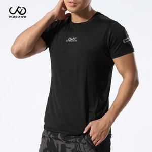 WOSAWE Summer T-Shirt Men Running Quick Dry T-Shirts Running Slim Fit Tops Sport Men 's Fitness Gym Short sleeve Blue Vest