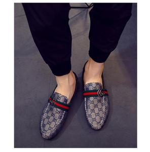 Горячие Продажа-е Итальянский дизайнер Металл Письмо Пряжка скольжению на лодке обувь Повседневная обувь Холст 38-44