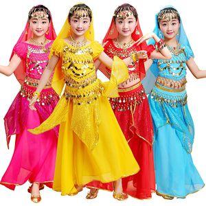 New Girls Belly Dancing Costume Set Enfants Costumes De Danse Fille Belly Dance Kid Indien Costumes De Danse Pour Les Filles 5pcs / set