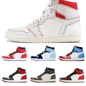 Plus récent venant Cdg X 1 Collab Boucle sangles Tirez Bague Hommes Femmes Chaussures de basket-1S Jumpman Des Garcons Sport Sneakers # QA934