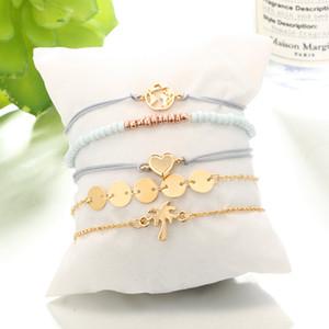 Braccialetto multistrato cuore fascino coconut albero mappa del mondo stackings braccialetti donne gioielli moda gioielli e regalo sabbioso