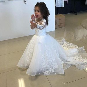 2019 New White A Line Lace Flower Girls Dresses For Wedding Gown Jewel Neck Long Sleeve Floor Length Tulle Childern Commnunication Dresses