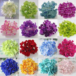 100PCS 21colors! Teste 15cm / 6'Artificial Ortensia fiore per Diy Wedding Muro Arco Bouquet di fiori casa di fiori decorativi