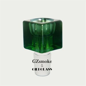 Стеклянная чаша для Бонга Бонга площади Толстого уникальный Красочных мужчин 18.8mm бонгов часть воды труба пьянящих курить аксессуар чаши штук зеленый черной