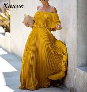 Xnxee Frauen langes Kleid 2020 Neueste Gelb Weiß Chiffon-Kleid Slash Ausschnitt weg von der Schulter Mode Vestidos Sexy Partykleider Xnxee