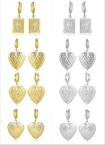 4 стиль Выбор крест любовь Сердце фазы box серьги открыть можно положить фото серьги золотой серебристый женщина мадам ювелирные изделия
