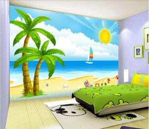 3d wallpaer individuelle photo Cartoon schönen Strand Kokosnussbaum Kinder Raum Hintergrund 3D Wandbilder Tapete für Wände 3 d Wohnkultur