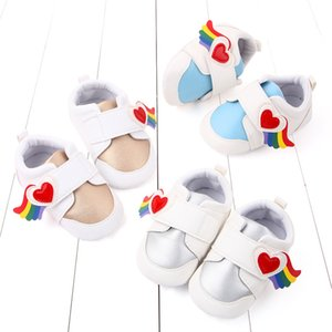 2020 New PU Leather Baby Shoes Cute Rainbow Design Toddler Shoes Newborn Baby Girl Boys Non Slip First Walkers