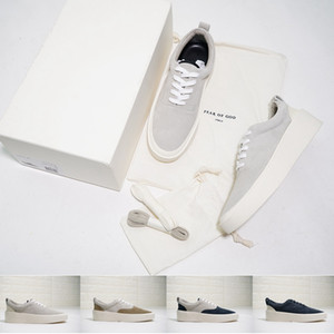 [Con la caja] Fear Of God 101 Diseñador zapatilla de deporte zapatos casuales para hombre La estación 5 de ante del patín FOG zapatos Slip-On de Lujo Italia Formadores simples