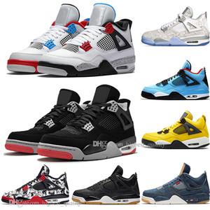 2019 Más reciente Bred 4 IV 4s Lo que el Cactus Jack Alas láser Láminas de baloncesto para hombre Denim Blue Pale Citron Hombres Sport Designer Sneakers US 5.5-13