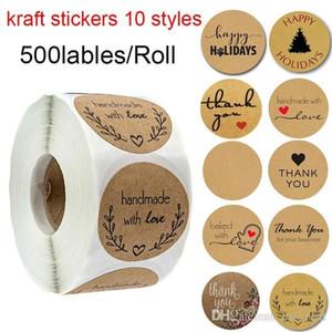1 Inch Round Brown Kraft Stickers 500 etichette per mano rotolo CON AMORE GRAZIE