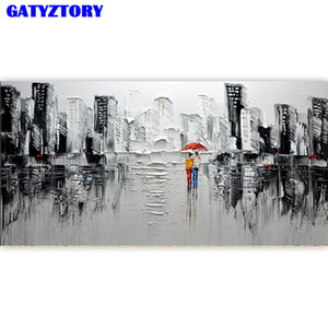 cadre GATYZTORY grande taille peinture par numéros diy art abstrait mur ville image cadeau unique pour la décoration peinte à la main de la maison 60x120