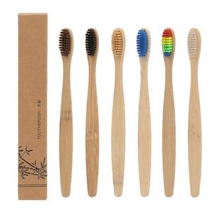 Bambu Diş Fırçası Doğal Kol Gökkuşağı Renkli Beyazlatma Yumuşak kıllar Bambu Diş Fırçası Çevre dostu Ağız Bakımı Yumuşak Kıl