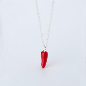 MloveAcc Yeni Geliş% 100 925 Gümüş Kırmızı Chili Pepper kolye kolye Kadınlar Charm Kolye Takı