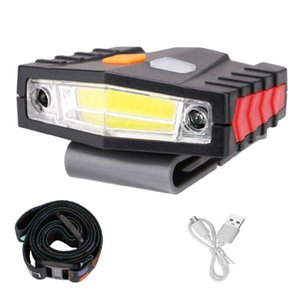 COB LED Head Lamp Motion Sensor Clip-On Cap Light Lithium Battery-Operated USB Rechargeable Night Illumination Tool For Fishing