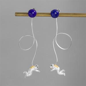 INature argento 925 Lapislazzuli spaziale Astronauta nappa lunga orecchini di goccia per i monili CX200624 modo delle donne