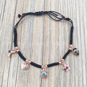 Auténtica plata de ley 925 pulseras Rose pulsera de plata Vermeil estupendo del poder con la cuerda y piedras preciosas adapta joyería oso estilo europeo Gi