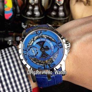 New Excalibur 46 Steel Case RDBEX0571 التلقائي رجالي ووتش الزرقاء الهيكل العظمي الطلب الأزرق الجلود حزام الرجالية الساعات hello_watch rd-e19a (6)