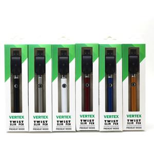 버텍스 트위스트 배터리 슬림 펜 VV 380mAh Vape Pen 예열 전압 가변 배터리 (510 카트리지 용) 카트 트위스트 무료 DHL