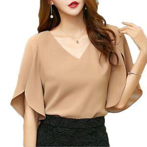 Женские топы и блузки плюс размер шифоновая рубашка с коротким рукавом 2019 лето Новый корейский мода Сексуальная V-образным вырезом темперамент рубашка E201