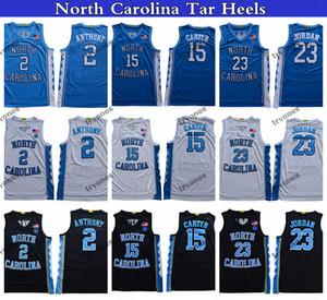 2020 Kuzey Carolina Tar Topuklu Vince Carter 15 Michael Jodan 23 Cole Anthony 2 Koleji Basketbol Formaları Dikişli Gömlek
