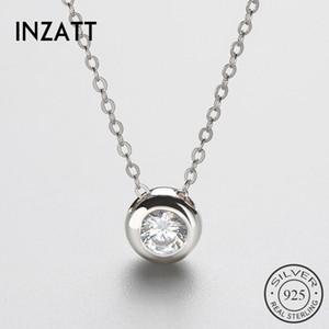 INZATT Mode argent 925 pendentif en cristal collier pour femmes rondes Boho été bijoux de mariage de fête d'anniversaire cadeau